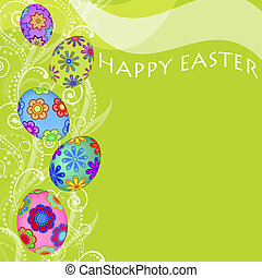 Happy Easter Eggs with Swirls and Flowers Background