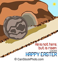Happy Easter empty tomb illustration with Bible verse on...