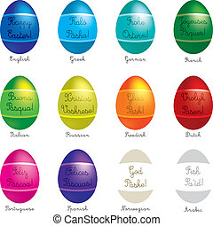"Happy Easter - A set of 12 vector Easter Eggs with ""happy..."