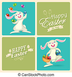 Happy Easter - illustration of Easter bunny with colorful...