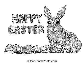 Happy easter - Doodle typography Happy Easter with Easter...
