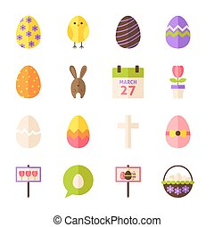 Happy Easter Flat Objects Set isolated over White