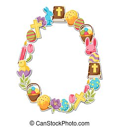 Happy Easter frame with decorative objects, eggs and bunnies stickers