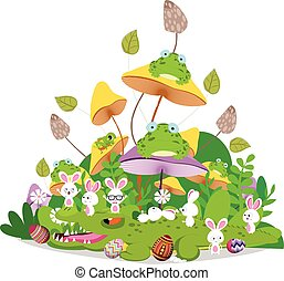 Happy easter funny animals stay together in the mushroom