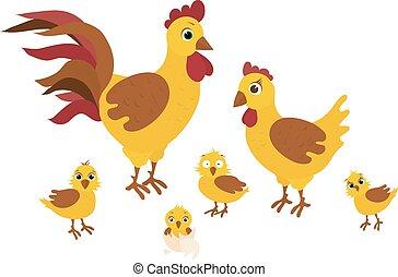 Happy Easter - Funny chicken family - vector illustration