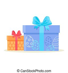 Happy Easter Gift Boxes Isolated on White Vector