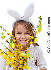 Happy easter girl with bunny ears