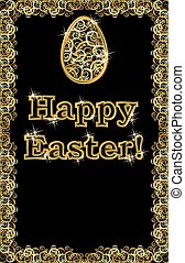 Happy Easter golden egg banner