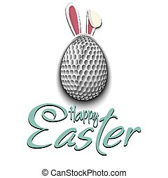 Happy Easter. Golf ball in the form of a egg
