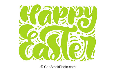 Happy Easter green animation greeting card with dots and lines on background. Christian text about resurrection of Jesus Christ. Full HD video footage