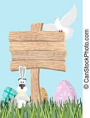 Happy Easter. Green grass. Colorful Easter eggs. Traditional treats for Easter. Wooden plaque. Wooden pointer. Colored eggs. Funny Bunny and egg. Symbol of Easter holiday