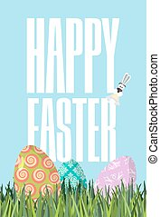 Happy Easter. Green grass. Colorful Easter eggs. Traditional treats for Easter. Colored eggs. Postcard for religious holiday