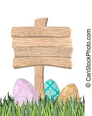 Happy Easter. Green grass. Colorful Easter eggs. Traditional treats for Easter. Wooden plaque. Wooden pointer. Colored eggs