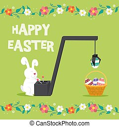 Happy Easter greeting card for spring holiday. Funny illustration of bunny playing with eggs production machine and basket. EPS10 vector.