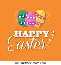 Happy Easter greeting card for spring holiday