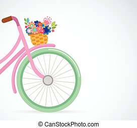 Happy Easter greeting card, poster, with cute, flowers in the bicycle basket