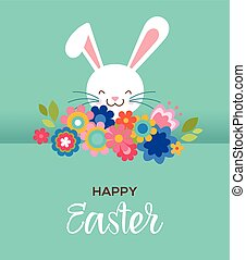 Happy Easter greeting card, poster, with cute, sweet bunny and flowers
