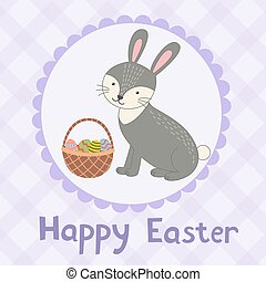 Happy Easter greeting card with a cute rabbit.