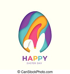 Happy Easter greeting card with abstract paper cut shapes on white background with bunny rabbit shape. Vector illustration. Colorful 3D carving art. Rabbit and egg signs
