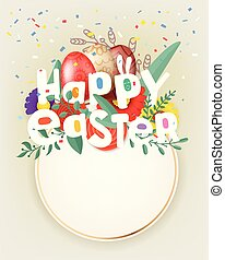 Happy Easter greeting card with circle frame for a text. Vector illustration