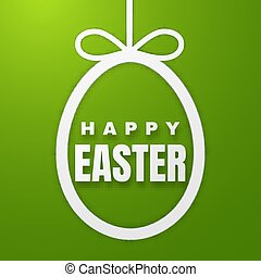 Happy Easter Greeting Card with Color Paper Easter Egg on Green Background. Vector illustration