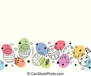 Happy Easter greeting card with colorful Easter eggs composition hand drawn and florals ornament