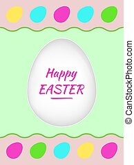 Happy Easter greeting card with colorful eggs and greetings. Vector illustration perfect for creating collages, design of banners, decoration, wishes. Vector file organized in layers for easy editing.