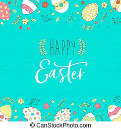 Happy Easter greeting card with cute spring eggs