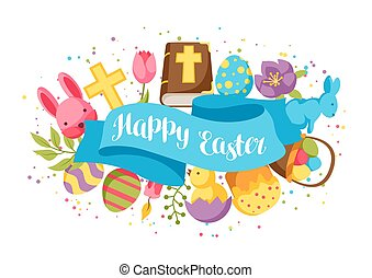 Happy Easter greeting card with decorative objects, eggs and bunnies