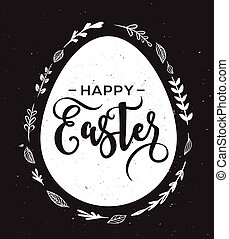 Happy Easter greeting card with egg and lettering
