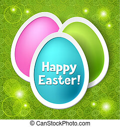 Happy Easter greeting card with eggs.