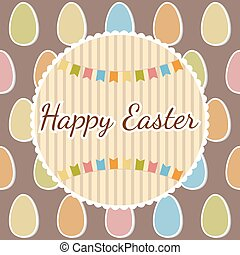 Happy Easter greeting card with eggs. Happy Easter postcard....