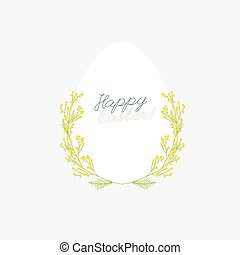 Happy Easter greeting card with flowers eggs and rabbit elements composition.