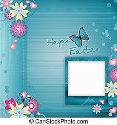 Happy Easter Greeting Card With Flowers, Hearts