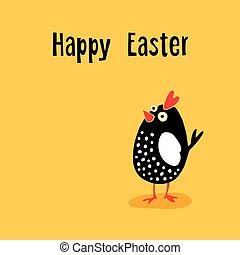 Happy Easter greeting card with funny chicken, hand drawn cartoon character, vector