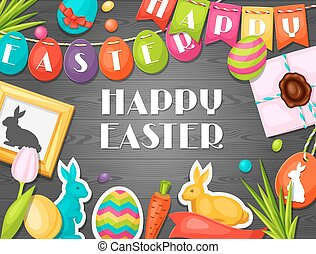 Happy Easter greeting card with decorative objects, eggs,...