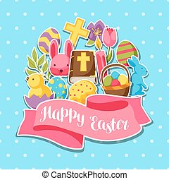 Happy Easter greeting card with decorative objects, eggs and bunnies stickers