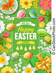 Greeting design for Easter holidays. Cute gifts, colored eggs, willow branches and spring flowers create a festive cheerful mood. Doodle easter elements on green background. Vector illustration.