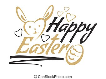 Greeting inscription with the Easter bunny and Easter eggs