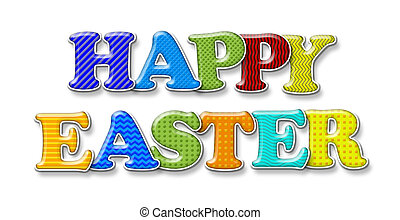 Happy easter words in capital letters on white sheet close up of of happy easter greeting isolated on white m4hsunfo