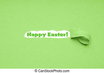 Happy Easter greeting on torn green paper background