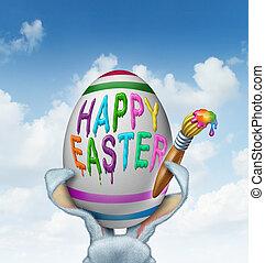 Happy Easter Greeting - Happy Easter greeting painted on a...