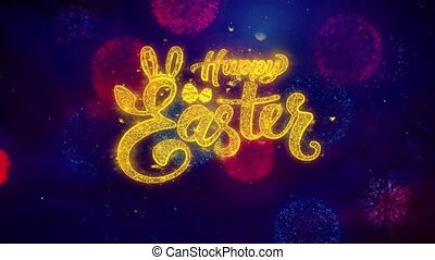 happy Easter Greeting Text Sparkle Particles on Colored Fireworks