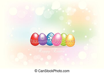 Happy Easter greetings card  colorful eggs