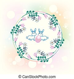 Happy Easter greetings card floral logo