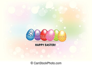 Happy Easter greetings card with  colorful eggs logo