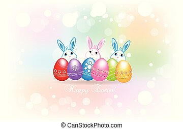 Happy Easter greetings card with eggs and bunnies icon logo