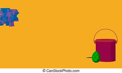 Happy easter animation on a yellow background