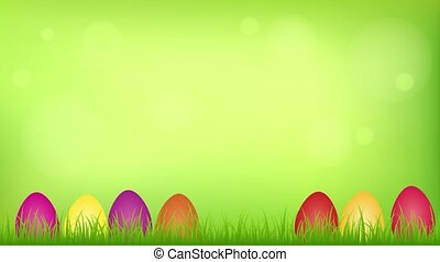 happy easter hare in the meadow between colorful eggs...