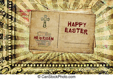 Happy Easter He is Risen - Religious Words in grunge style ...